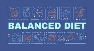 faixa de conceitos de palavra azul dieta balanceada vetor