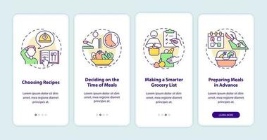 tela da página do aplicativo para dispositivos móveis noções básicas de planejamento de refeições vetor