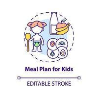 plano de refeição para ícone de conceito de crianças vetor
