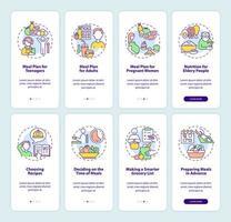 plano de refeição e conjunto de tela de página de aplicativo móvel relacionado à dieta vetor
