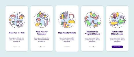 plano de refeições para diferentes faixas etárias na tela da página do aplicativo para dispositivos móveis vetor