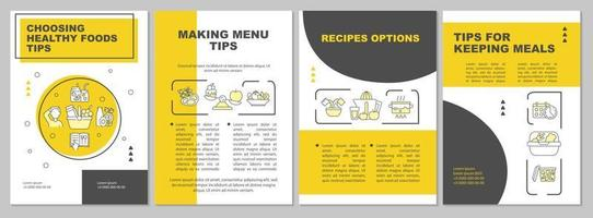 modelo de folheto amarelo de dicas de planejamento de refeição vetor