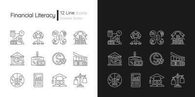 Ícones lineares de alfabetização financeira definidos para os modos claro e escuro vetor