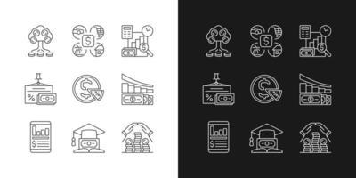 Financiar ícones lineares definidos para o modo claro e escuro vetor