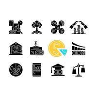 alfabetização financeira ícones de glifo preto definidos no espaço em branco vetor