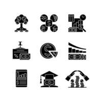 financiar ícones de glifo preto definidos no espaço em branco vetor