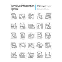 conjunto de ícones lineares de tipos de informações confidenciais vetor