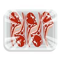 bife com osso. um pedaço de carne em uma embalagem a vácuo. carne de porco e vaca em uma bandeja de plástico. ilustração vetorial. vetor