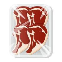 carne fresca. Steak. um pedaço de carne em uma embalagem a vácuo. carne de porco e vaca em uma bandeja de plástico. ilustração vetorial. vetor