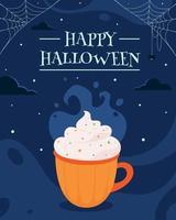 cartão de feliz dia das bruxas. bebida de halloween. vetor