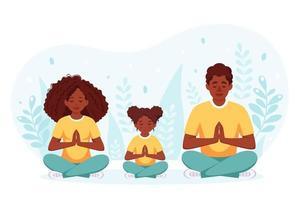 família afro-americana fazendo ioga. família passando um tempo juntos. vetor