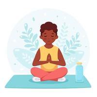 menino negro meditando na posição de lótus. ginástica, ioga e meditação para crianças. vetor