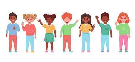 crianças de diferentes nacionalidades, sorrindo e acenando com as mãos. alunos do ensino fundamental vetor