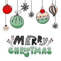 modelo de banner de Natal, fundo com letras e bolas de ano novo. vetor