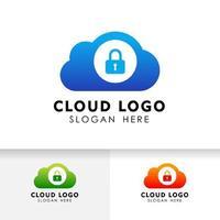 design do ícone de tecnologia de nuvem de segurança. elemento de vetor de nuvem