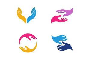 modelo de design de logotipo de cuidado de mão. ilustração do ícone do vetor de cuidados com as mãos