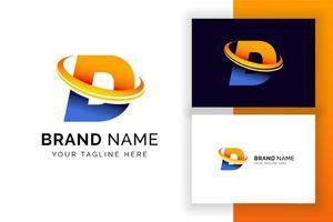 modelo de design de logotipo digital letra d. ícone de letra do alfabeto techno. vetor