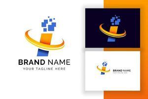 carta digital modelo de design de logotipo. ícone de letra do alfabeto techno. vetor