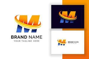 modelo de design de logotipo digital letra m. ícone de letra do alfabeto techno. vetor