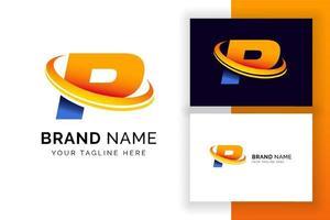 modelo de design de logotipo digital letra p. ícone de letra do alfabeto techno. vetor