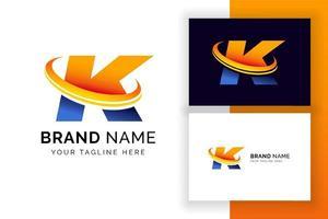 modelo de design de logotipo digital letra k. ícone de letra do alfabeto techno. vetor