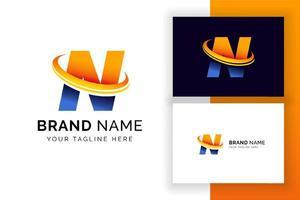 modelo de design de logotipo digital letra n. ícone de letra do alfabeto techno. vetor