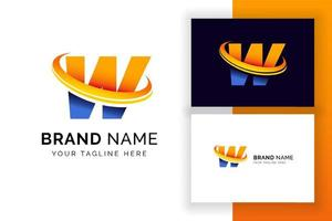 modelo de design de logotipo digital letra w. ícone de letra do alfabeto techno. vetor
