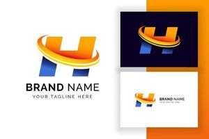 modelo de design de logotipo digital letra h. ícone de letra do alfabeto techno. vetor