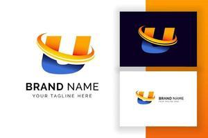 modelo de design de logotipo digital letra u. ícone de letra do alfabeto techno. vetor