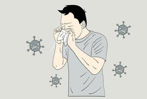 um homem que espirra, cobrindo o nariz com um lenço de papel. e cercado por vírus. mão desenhada estilo ilustrações vetoriais vetor