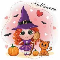 lindo cartão de halloween com uma garota ruiva com um chapéu de bruxa, com uma vassoura na mão, com abóboras e um gato vermelho sobre um fundo rosa bonito. ilustração do vetor dos desenhos animados.
