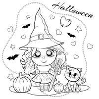 página para colorir fofa para o halloween com uma garota com um chapéu de bruxa, com uma vassoura na mão, com abóboras e um gato. delinear a ilustração do vetor. vetor