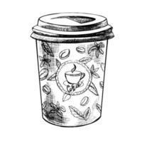 café desenhado à mão de belo vetor para ir ilustração. imagem detalhada do estilo retro. elemento de desenho vintage para design de etiquetas, embalagens e cartões.