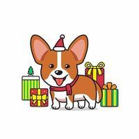 vector cartoon personagem corgi cão com presentes