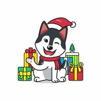 vector cartoon personagem cão husky siberiano com presentes