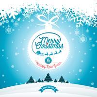 Ilustração de Natal feliz com tipografia e ornamento decoração no fundo de paisagem de inverno. Folheto de férias de Natal de vetor ou design de cartaz.
