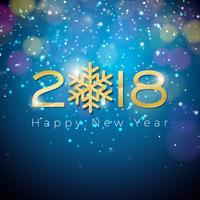 Ilustração do ano novo feliz 2018 do vetor no fundo azul da iluminação brilhante com tipografia.