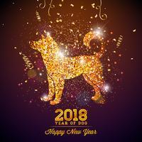 Ilustração do ano novo de 2018 chineses com símbolo brilhante no fundo brilhante da celebração. Ano do projeto do vetor do cão.