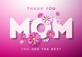 Feliz dia das mães cartão design com flor e obrigado mãe tipográficas elementos sobre fundo rosa. Modelo de ilustração de celebração de vetor para banner, panfleto, convite, folheto, cartaz.