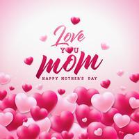 O projeto de cartão feliz do dia de mães com coração e ama-o elementos tipográficos da mamã no fundo branco.