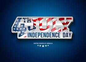 Dia da independência da ilustração vetorial de EUA com bandeira em tipografia 3d letras. Quarto de julho Design