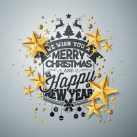 Vector a ilustração do Natal e do ano novo com as estrelas de papel da tipografia e do entalhe no fundo limpo. Projeto de férias para cartão postal, cartaz, banner.