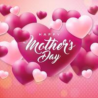 Feliz dia das mães cartão com lareira no fundo rosa. Modelo de ilustração de celebração de vetor com design tipográfico para banner