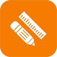 Ícone de lápis e régua de vetor