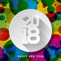 Ilustração do ano novo feliz 2018 do vetor no fundo colorido brilhante com projeto longo da tipografia da sombra.
