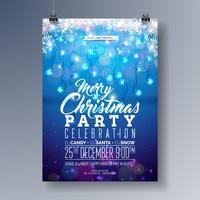 Projeto do inseto da festa de Natal Merry do vetor com elementos da tipografia do feriado, floco de neve e festão da luz no fundo azul brilhante. Ilustração de convite de cartaz de celebração.