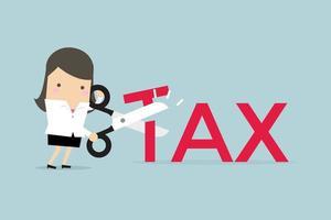 mulher de negócios com tesoura corte ilustração em vetor grande letra t. reduzir o conceito de negócio fiscal.