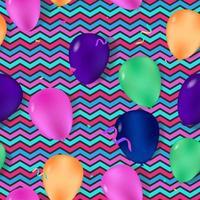 padrão sem emenda com balões coloridos e fundo em zigue-zague vetor