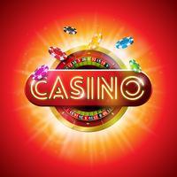 Ilustração do casino com letra brilhante da luz de néon e roda de roleta no fundo vermelho. Vector design de jogo para cartaz de festa, cartão, convite ou promo banner.