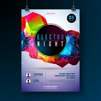 Projeto do cartaz do dance party da noite com formas geométricas modernas abstratas no fundo brilhante. Eletro estilo disco club modelo para convite de panfleto de evento de música abstrata ou banner promocional.
